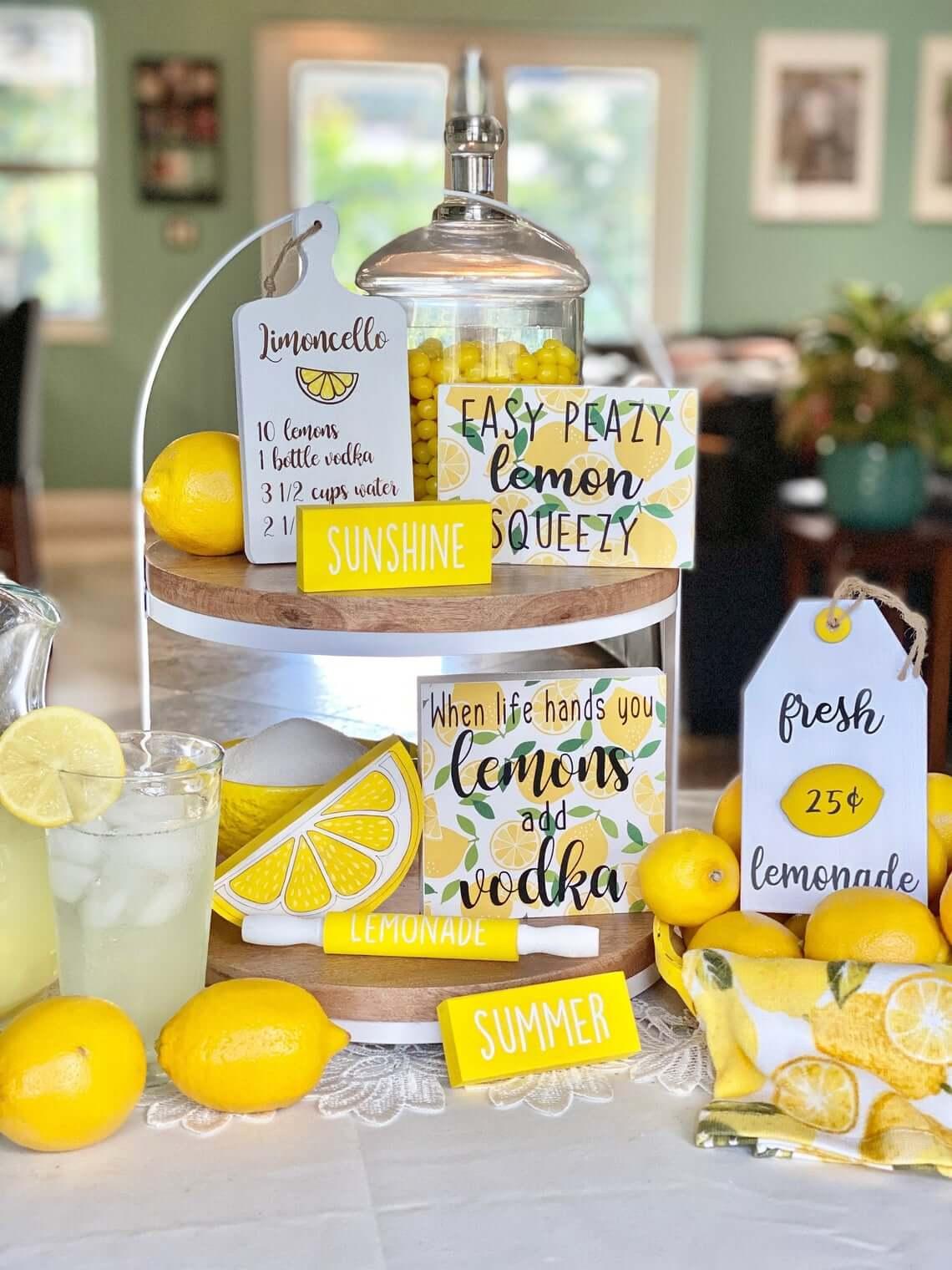 Lemon Tiered Tray Summer Décor
