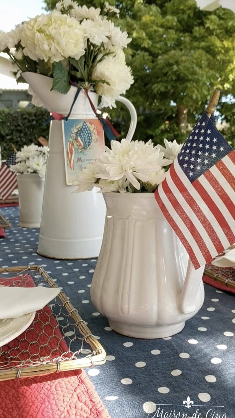 Pitchers and Pails Americana Summer Table Decor