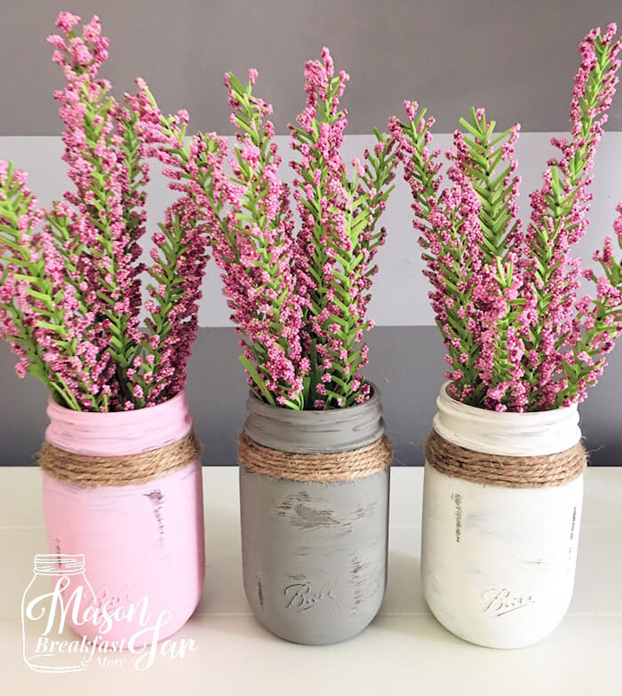 Distressed Painted Mason Jars with String