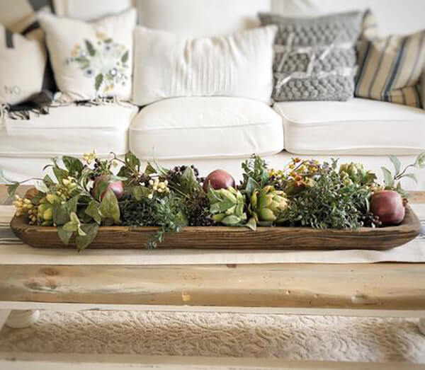 Wooden Trough Coffee Table Centerpiece
