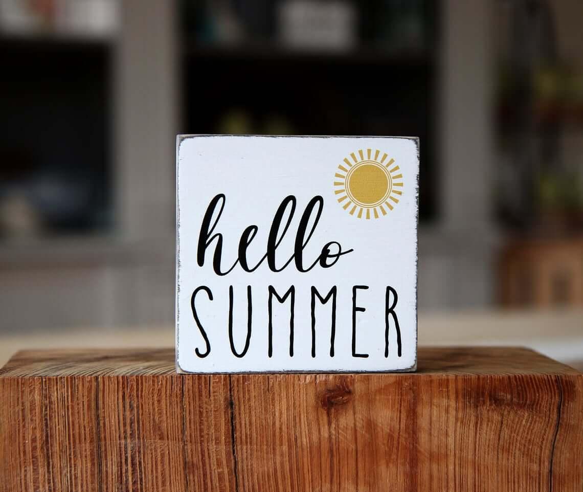 Hello Summer Sunshine Square Sign
