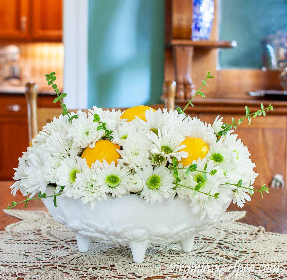 Milk Glass Chrysanthemum and Lemon Summer Centerpiece