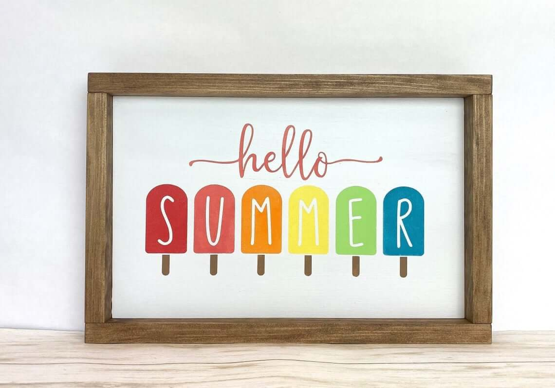 Hello Summer Colorful Popsicle Wooden Sign