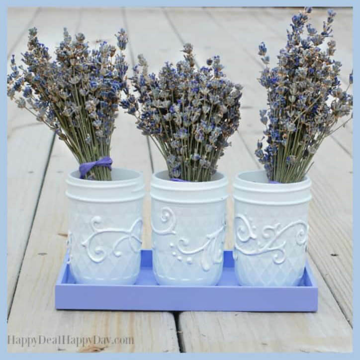 White Painted Jar Trio with Lavender Bunches
