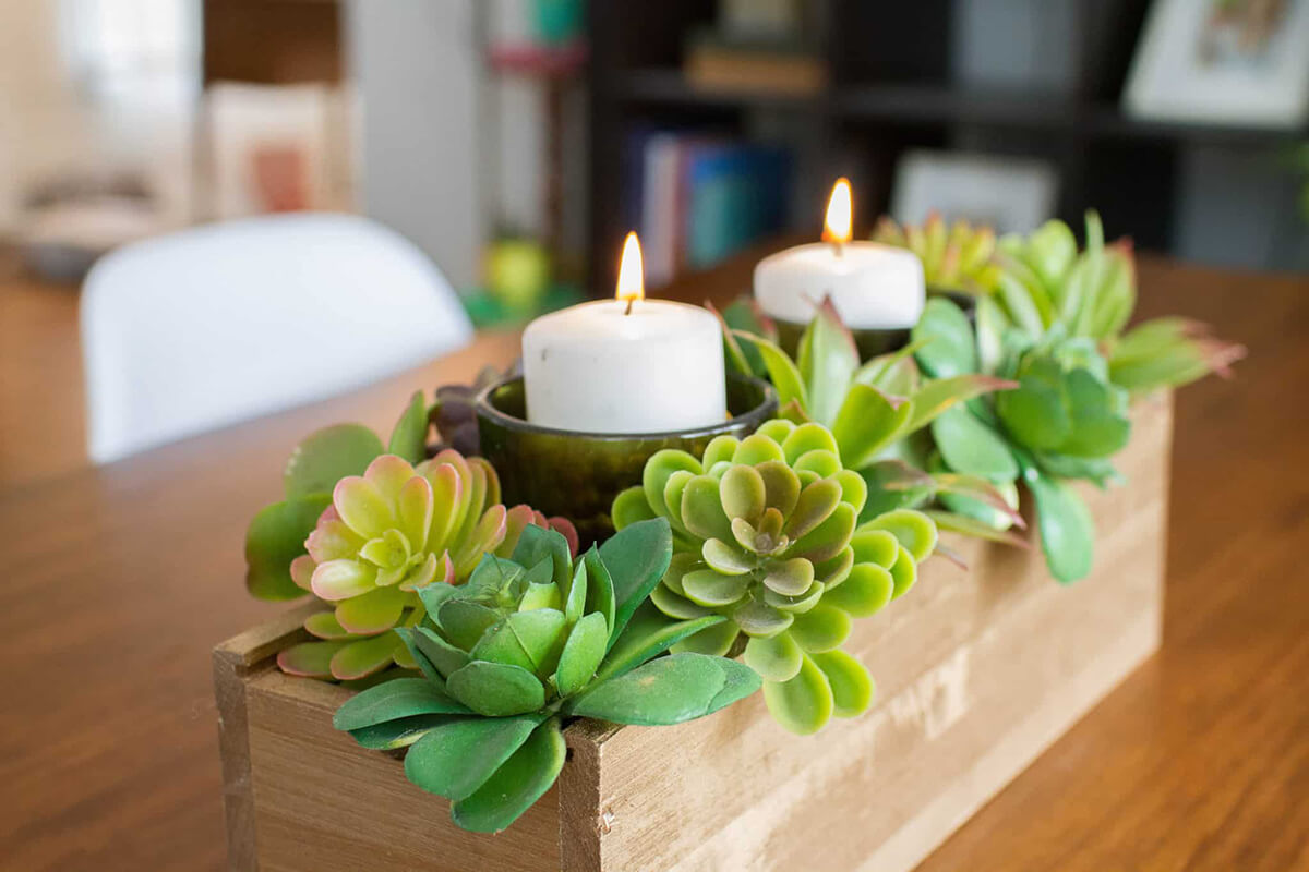 Dainty Wooden Box with Votives and Succulents