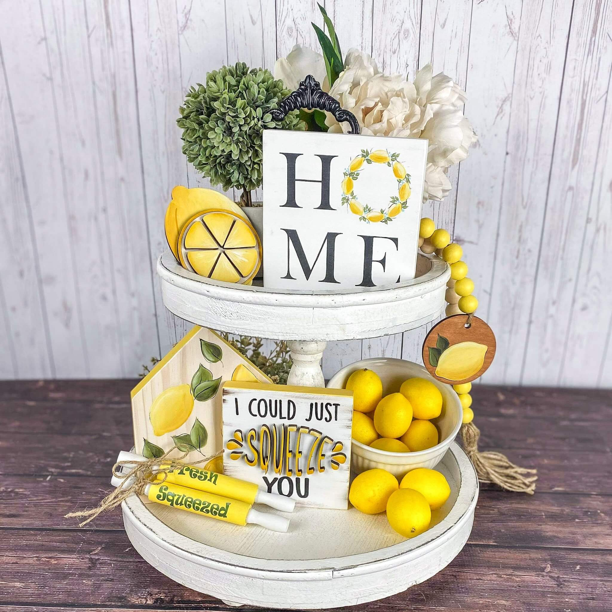 Fresh Lemon Themed Rustic Tiered Tray