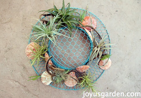 Wire Hat with Sea Treasures and Succulents
