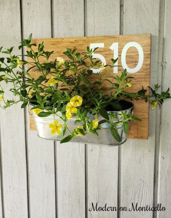 House Number Sign with Colorful Planter