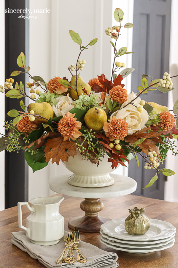 Faux Autumn Pear Floral Arrangement