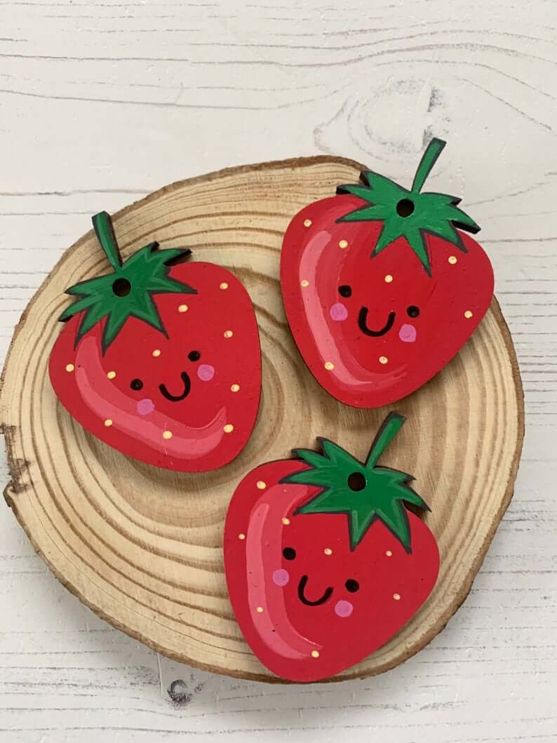 Hand Painted Strawberry Tag Decoration