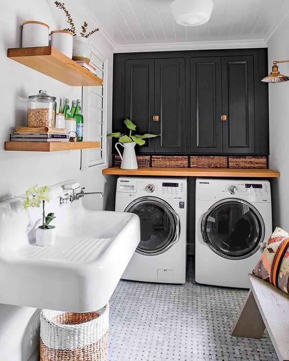 Earthy Boho Farmhouse Laundry Room