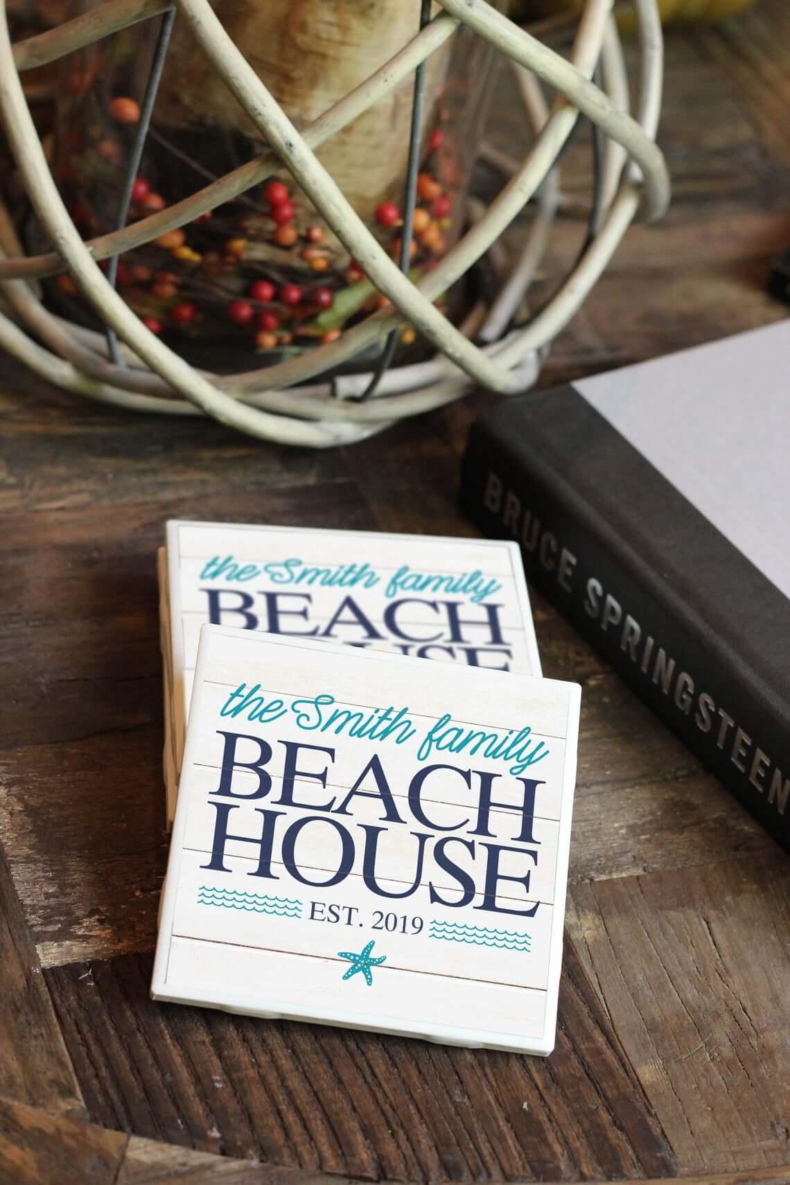 Nautical Family Name Beach House Coasters