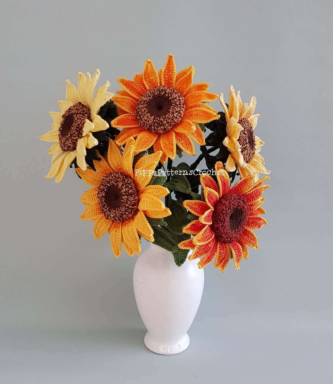 Multi-Colored Crochet Sunflower Bouquet Arrangement