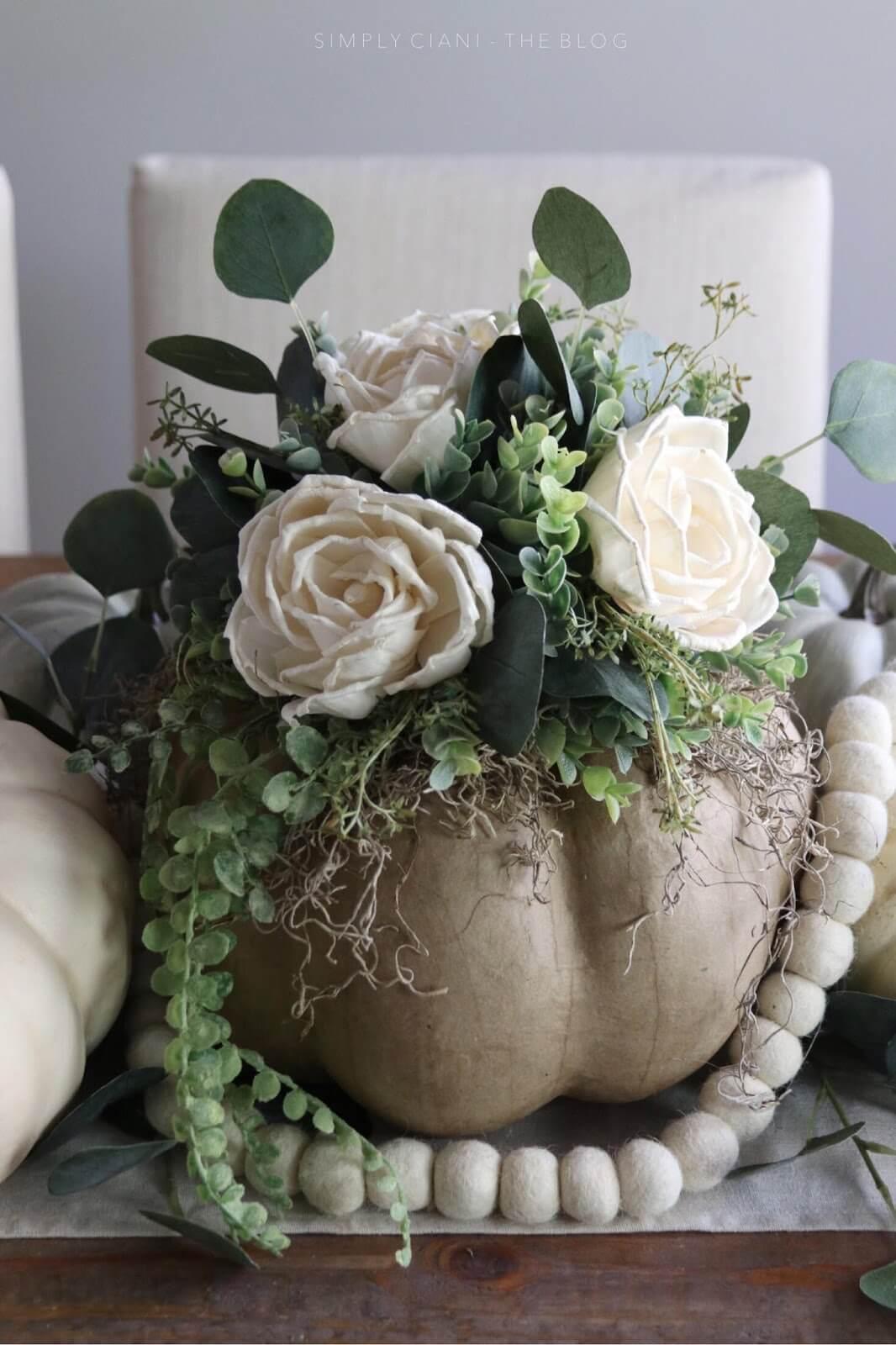 Paper Craft Pumpkin Floral Centerpiece