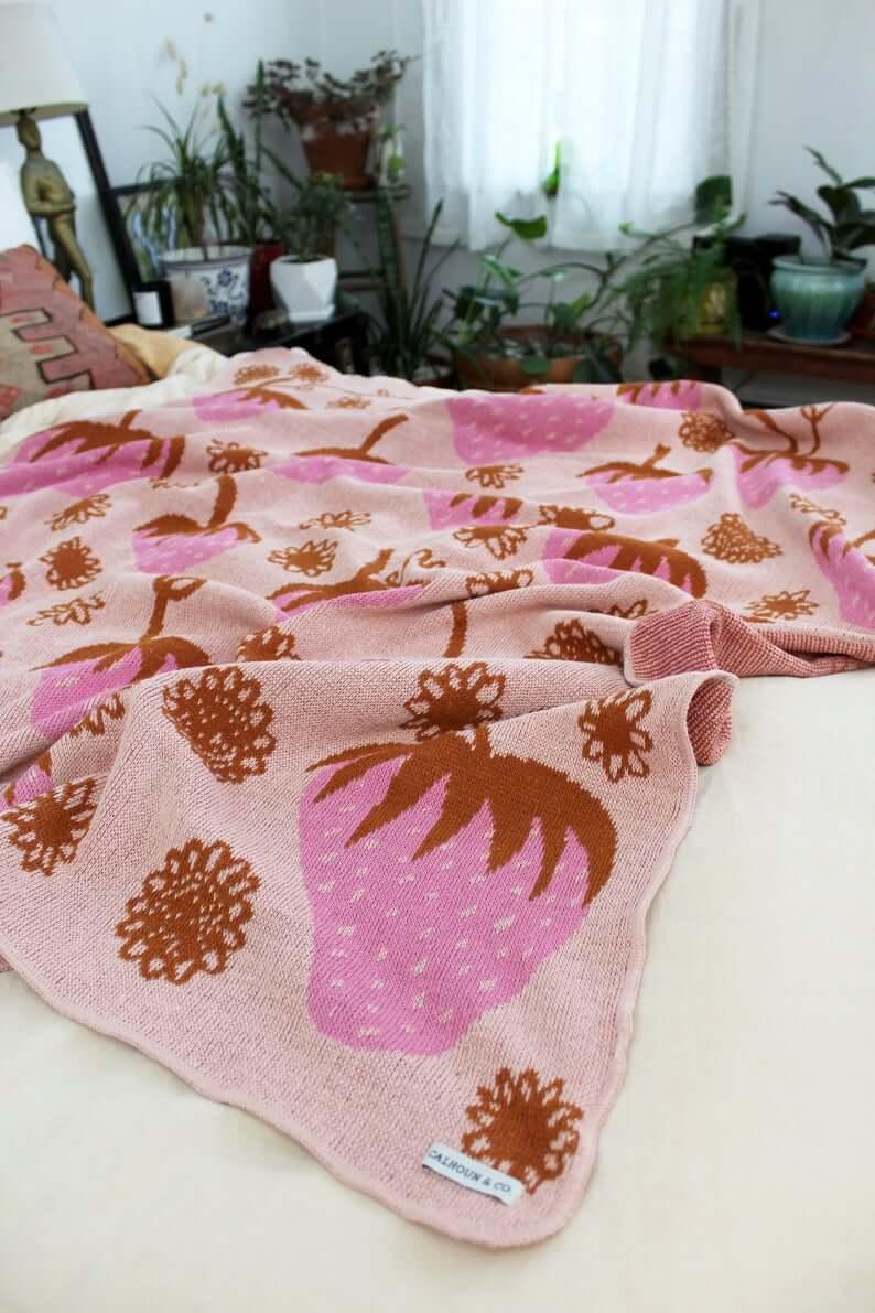 Strawberry Fruit Field Handknit Blanket