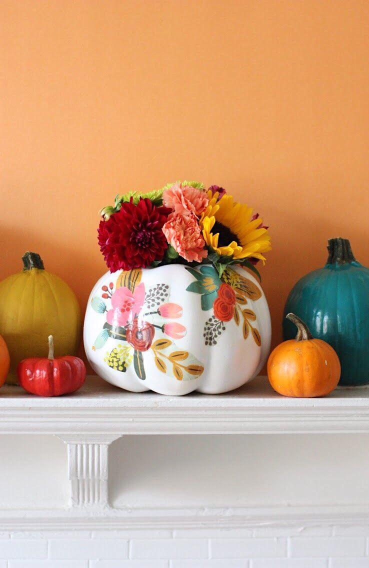 Pioneer Woman Style Painted Pumpkin Vases