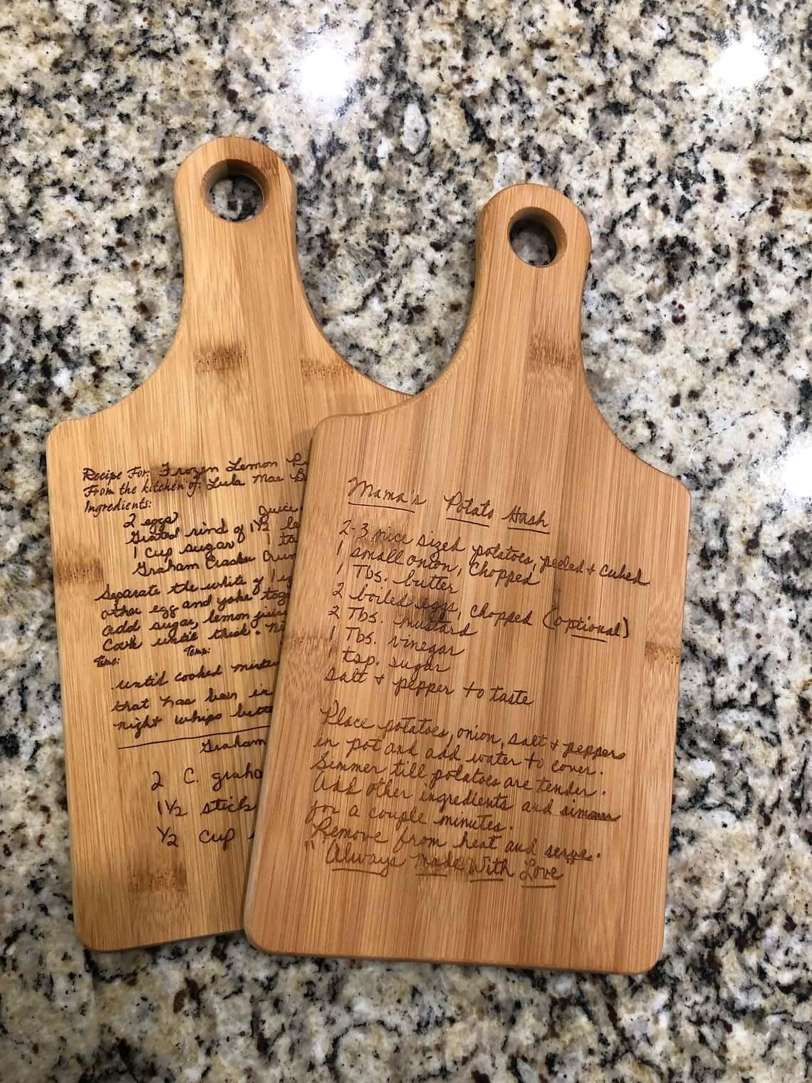 Keepsake Handwritten Recipe Engrave Cutting Board