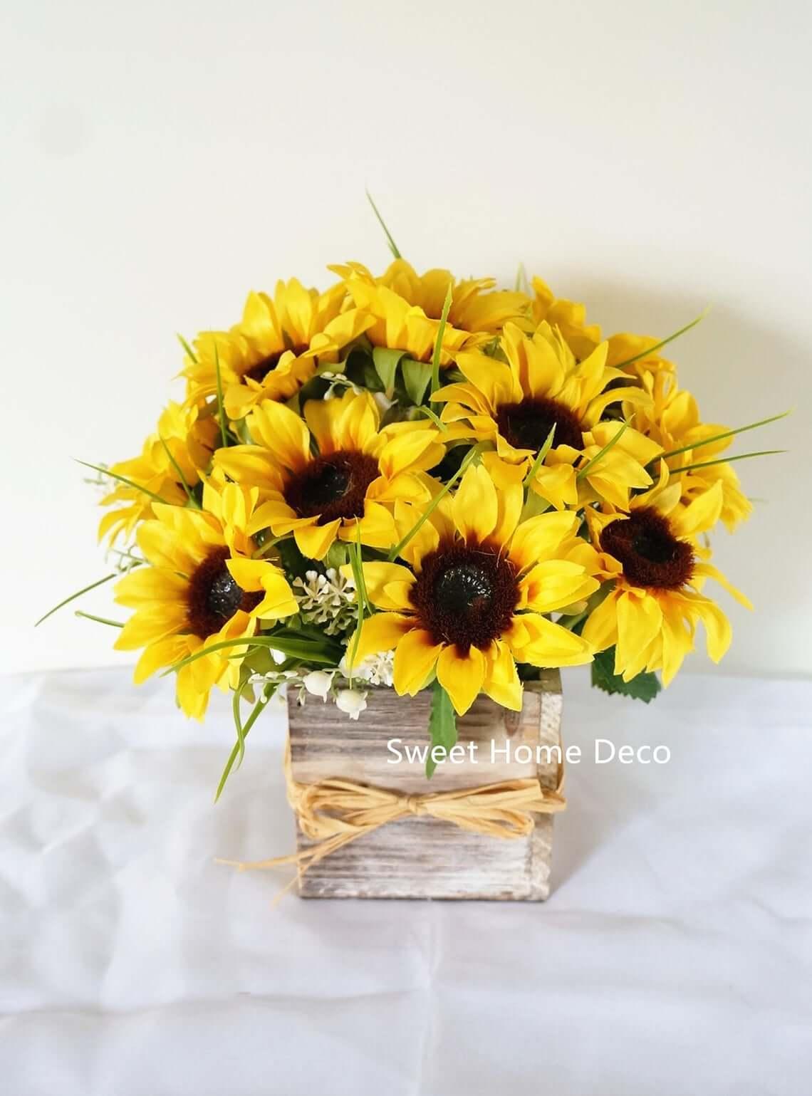 Sweet Silk Sunflower Arrangement Centerpiece
