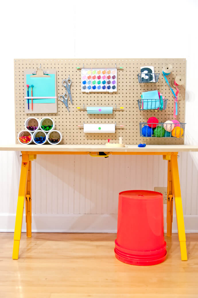 Colorful Kid-Sized Crafting Station