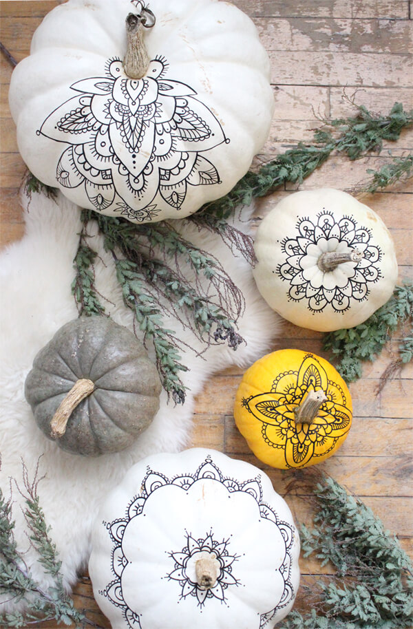 Bohemian Love Henna Template Painted Pumpkins