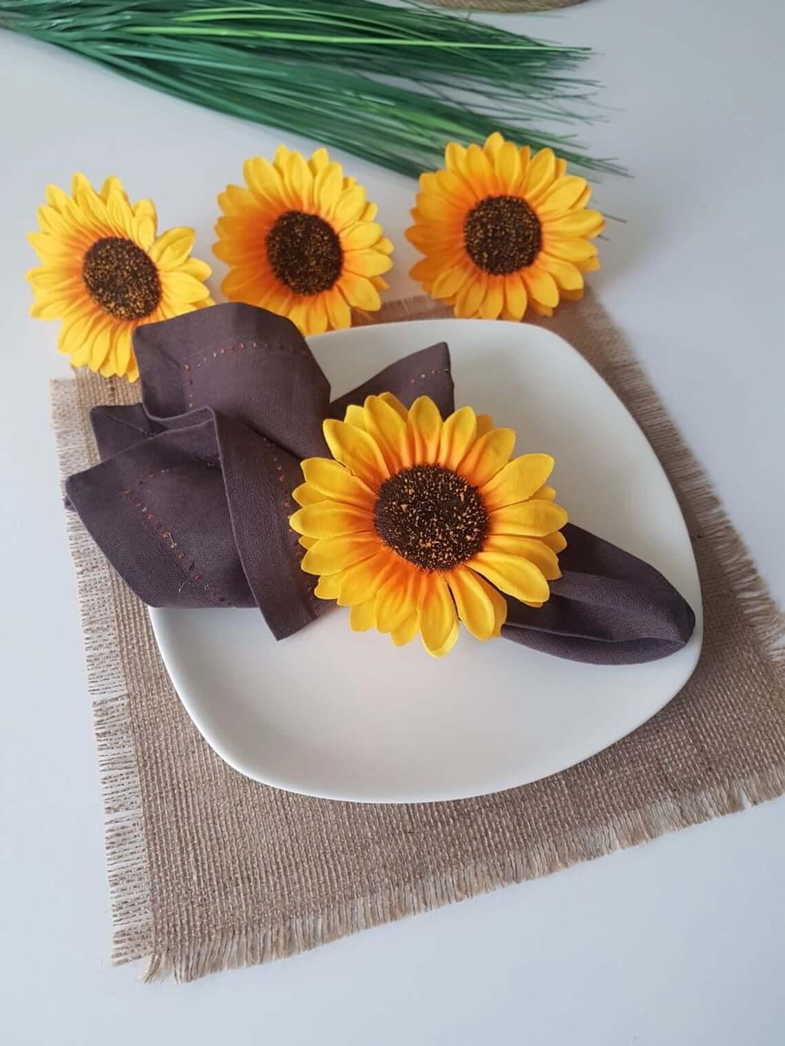 Unique Summer Wedding Yellow Sunflower Napkin Holder