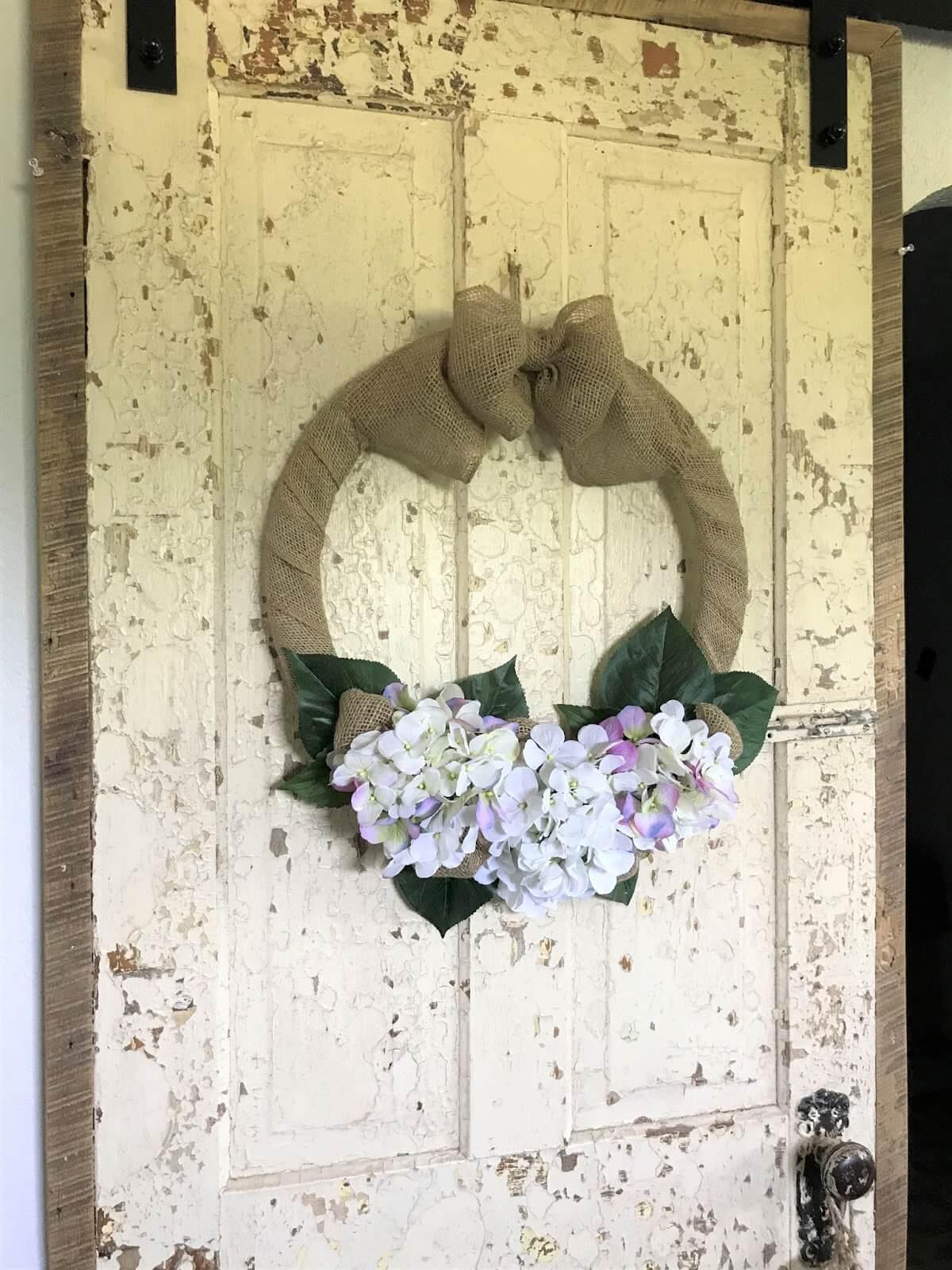 Rustic Hydrangea and Burlap Wreath