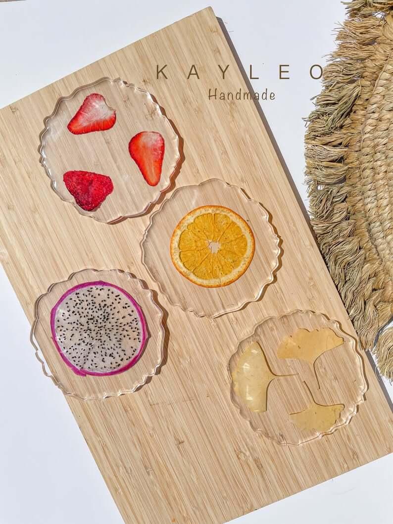 Handmade Resin Fruit Slice Coaster