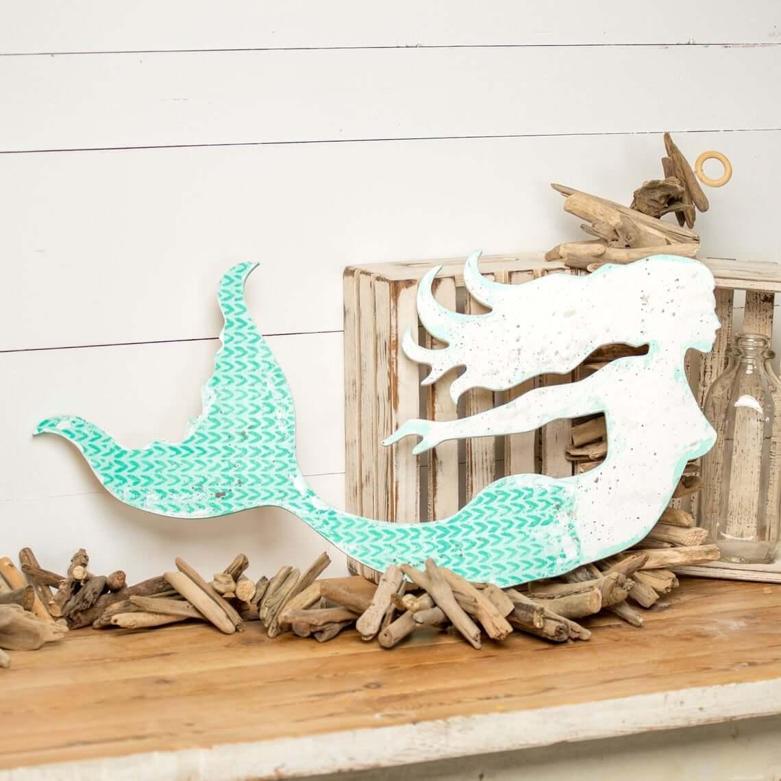 Aqueous White and Blue Mermaid Signboard Décor