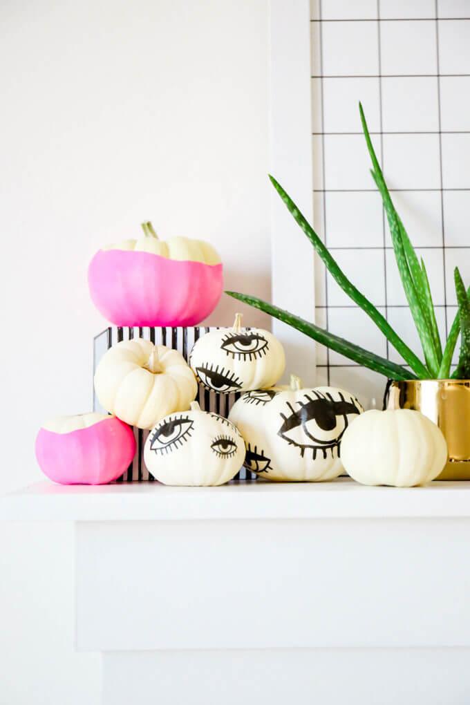 I'm All Eyes Tattooed Painted Pumpkins