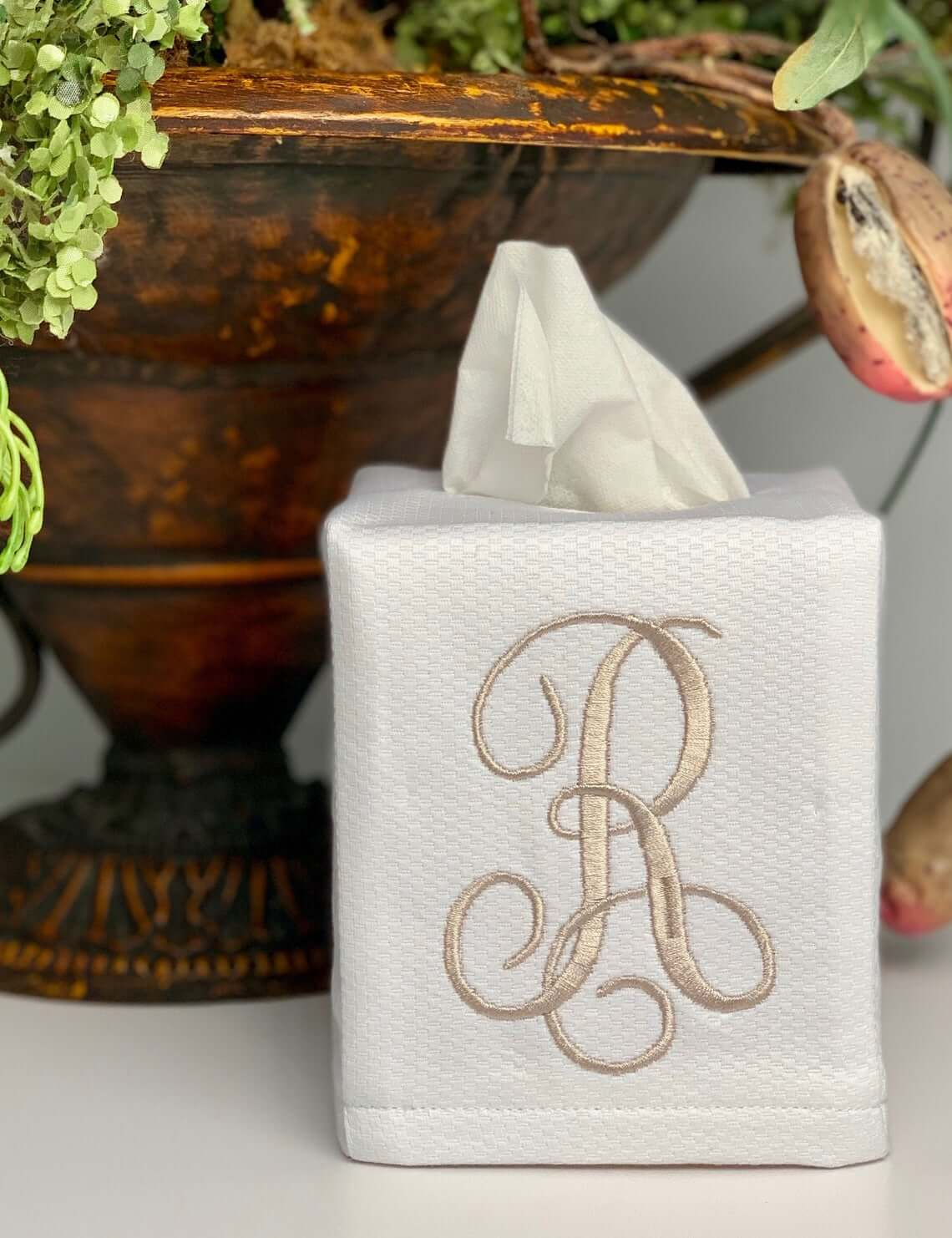 Embroidered Linen Tissue Box Cover