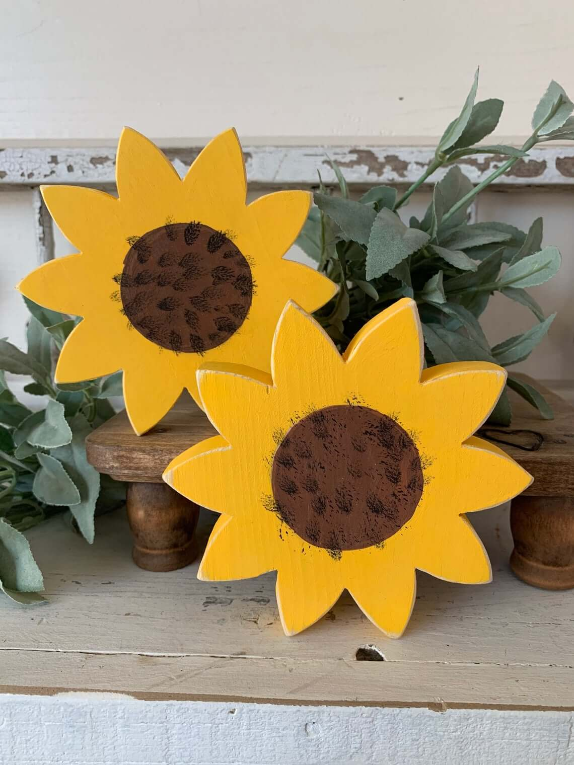 The Perfect Pair of Mini Wooden Sunflowers