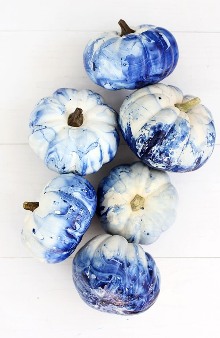 Marvelously Marbled Modern Style Painted Pumpkins