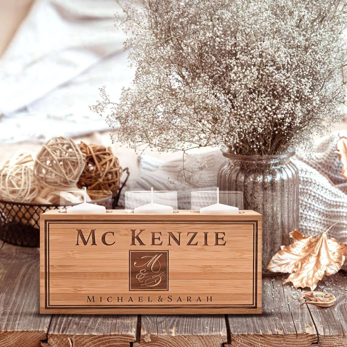 Personalized Wooden Candle Holder for Three Votives