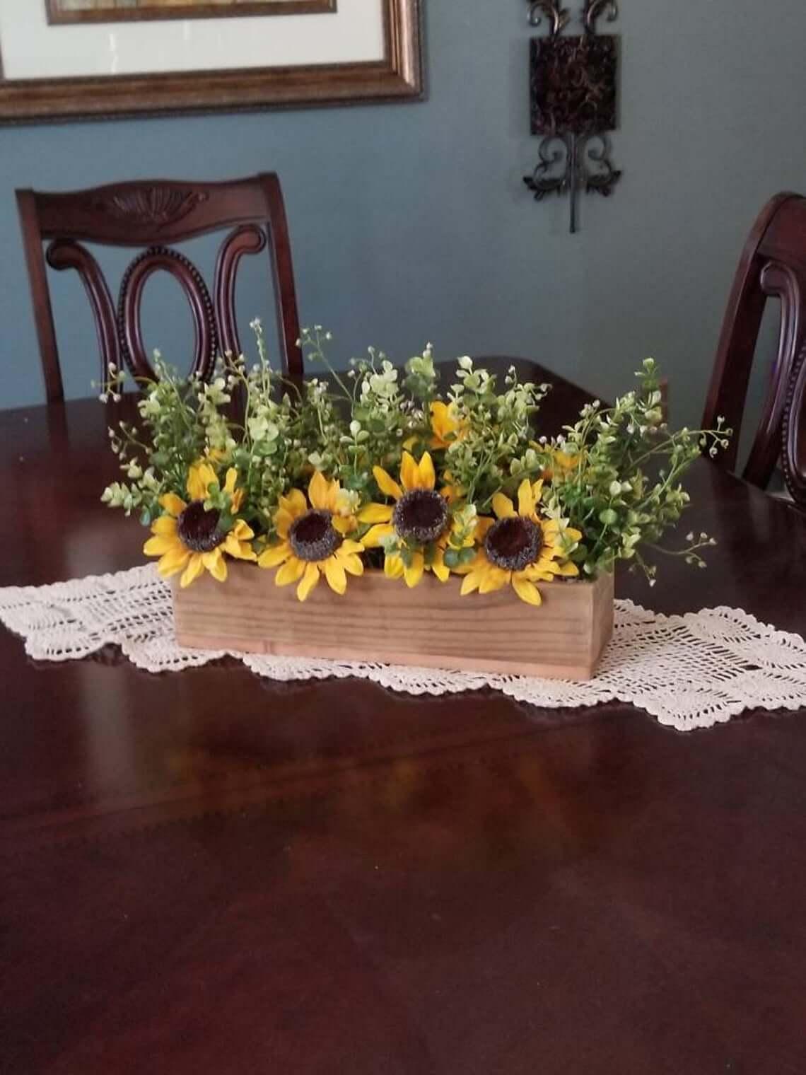 Blooming Yellow Sunflower Kitchen Centerpiece