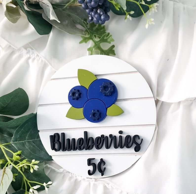 Cool Blueberries Spring Shiplap Sign