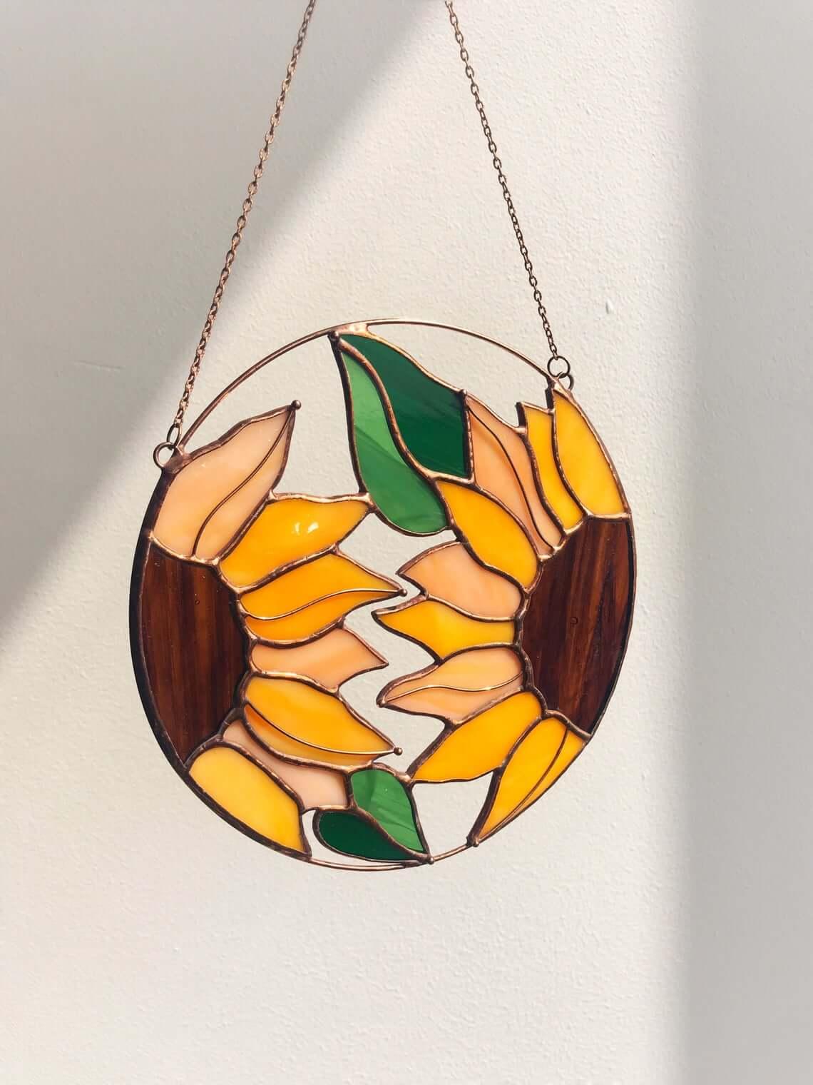 Delicate Stained Glass Sunflower Suncatcher