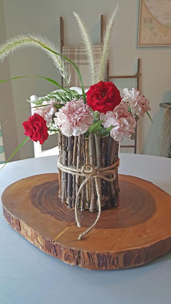 DIY Rustic Tied Branch Vase