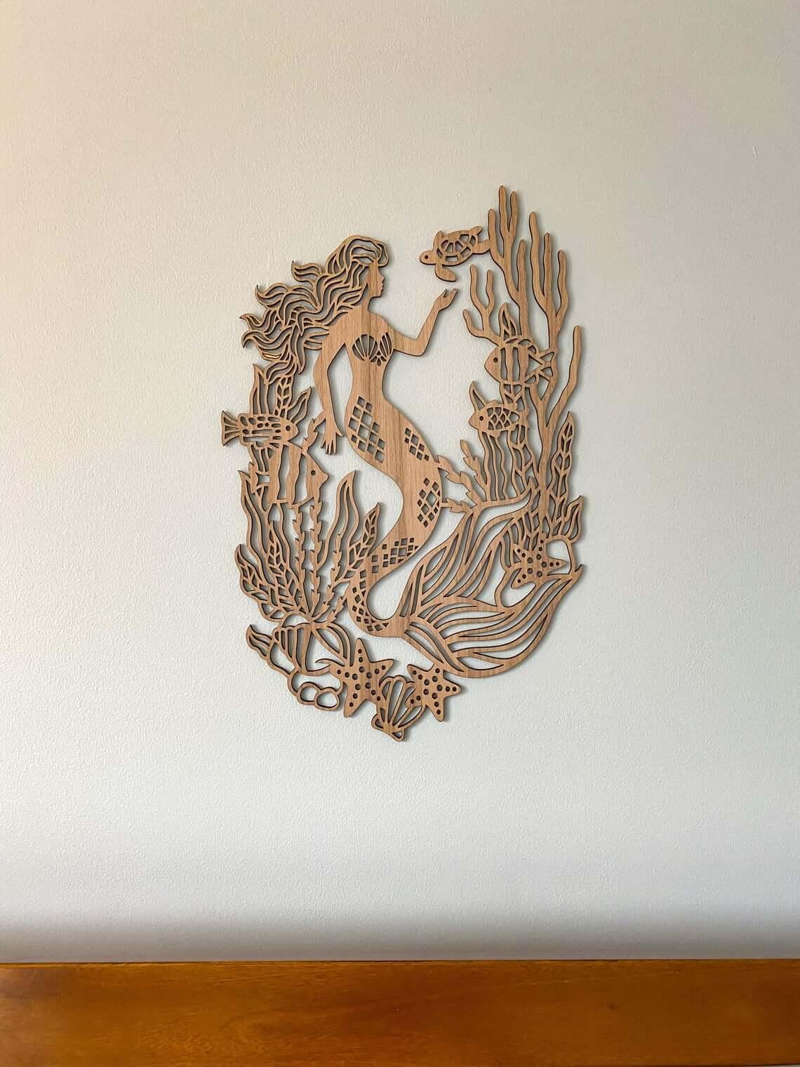 World Class Mermaid Wall Carving