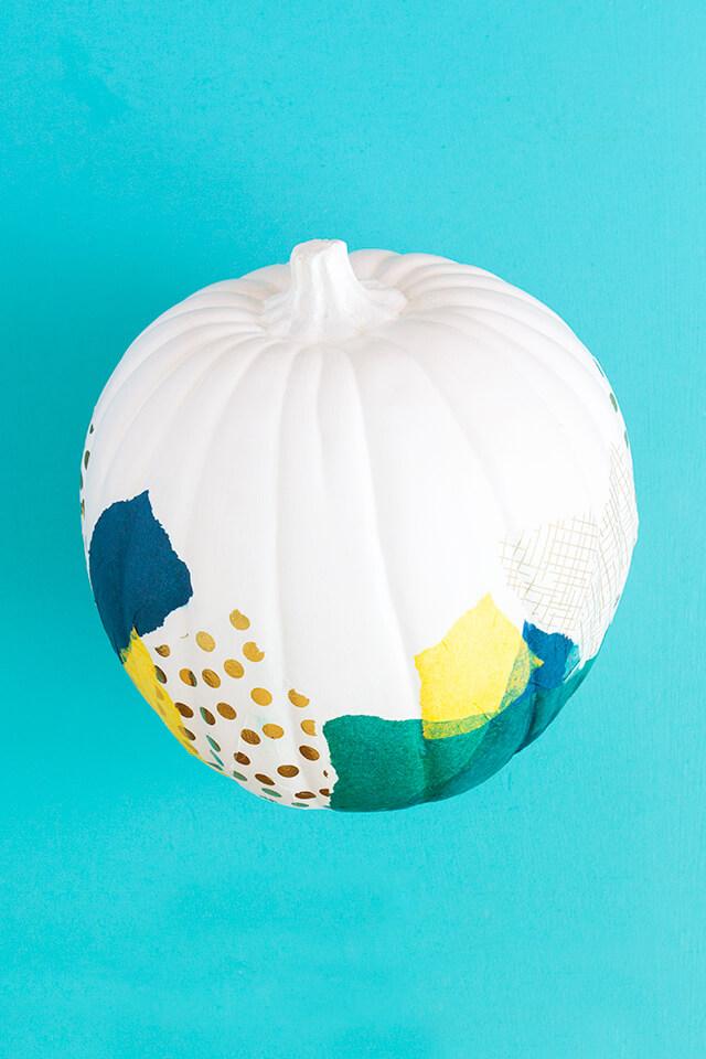 Delightful Decoupage Tissue Paper Painted Pumpkin