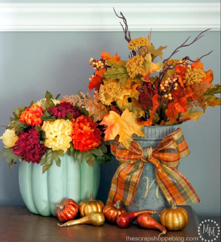 Colorful Farmhouse Styled Fall Vignette