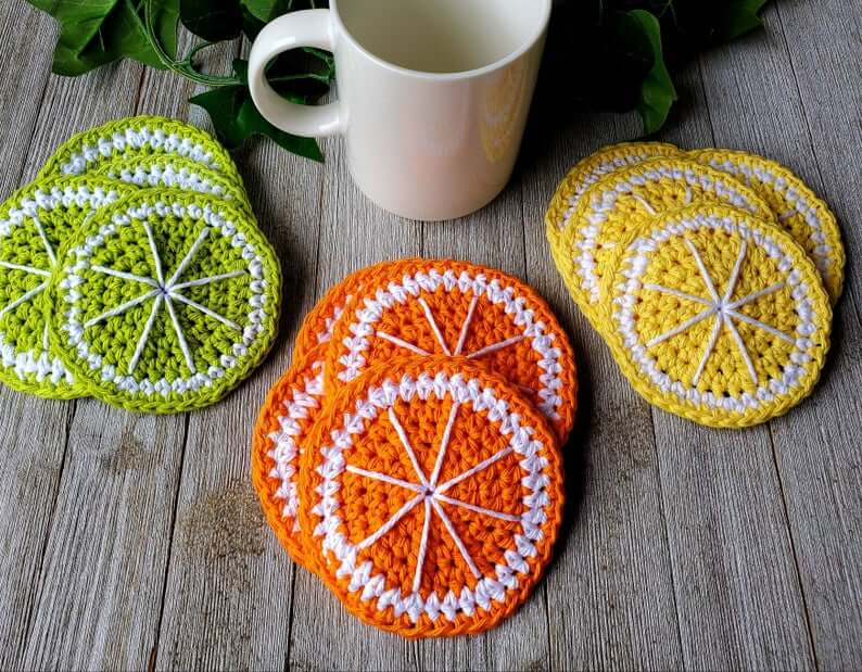 Crochet Fruit Slice Coaster Décor