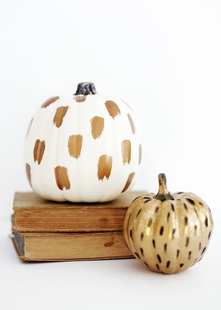 Speckled Superstar Brushstroke Painted Pumpkin