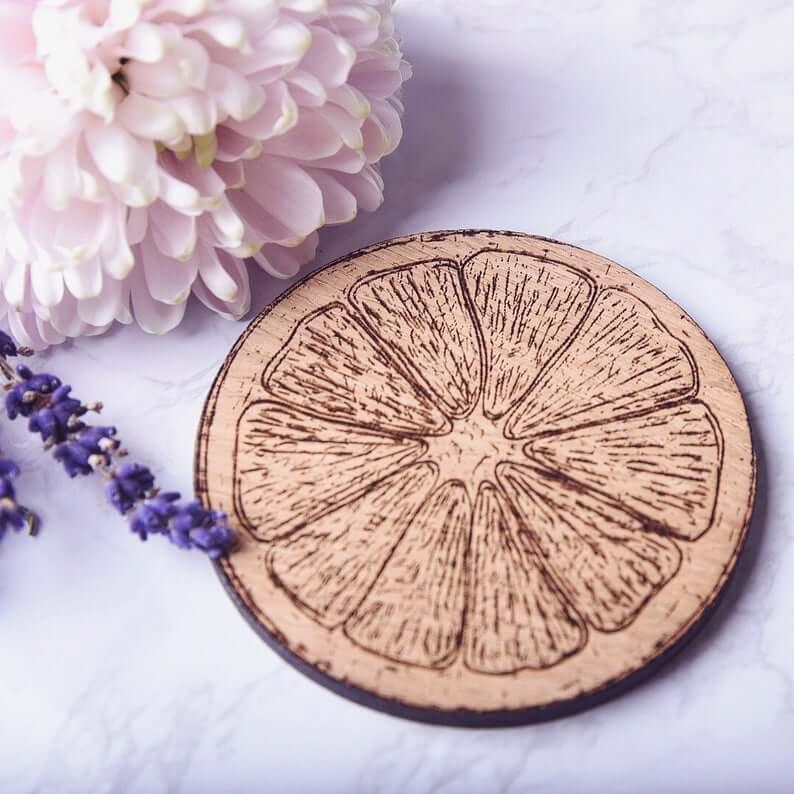 Engraved Orange Slice Wooden Coaster