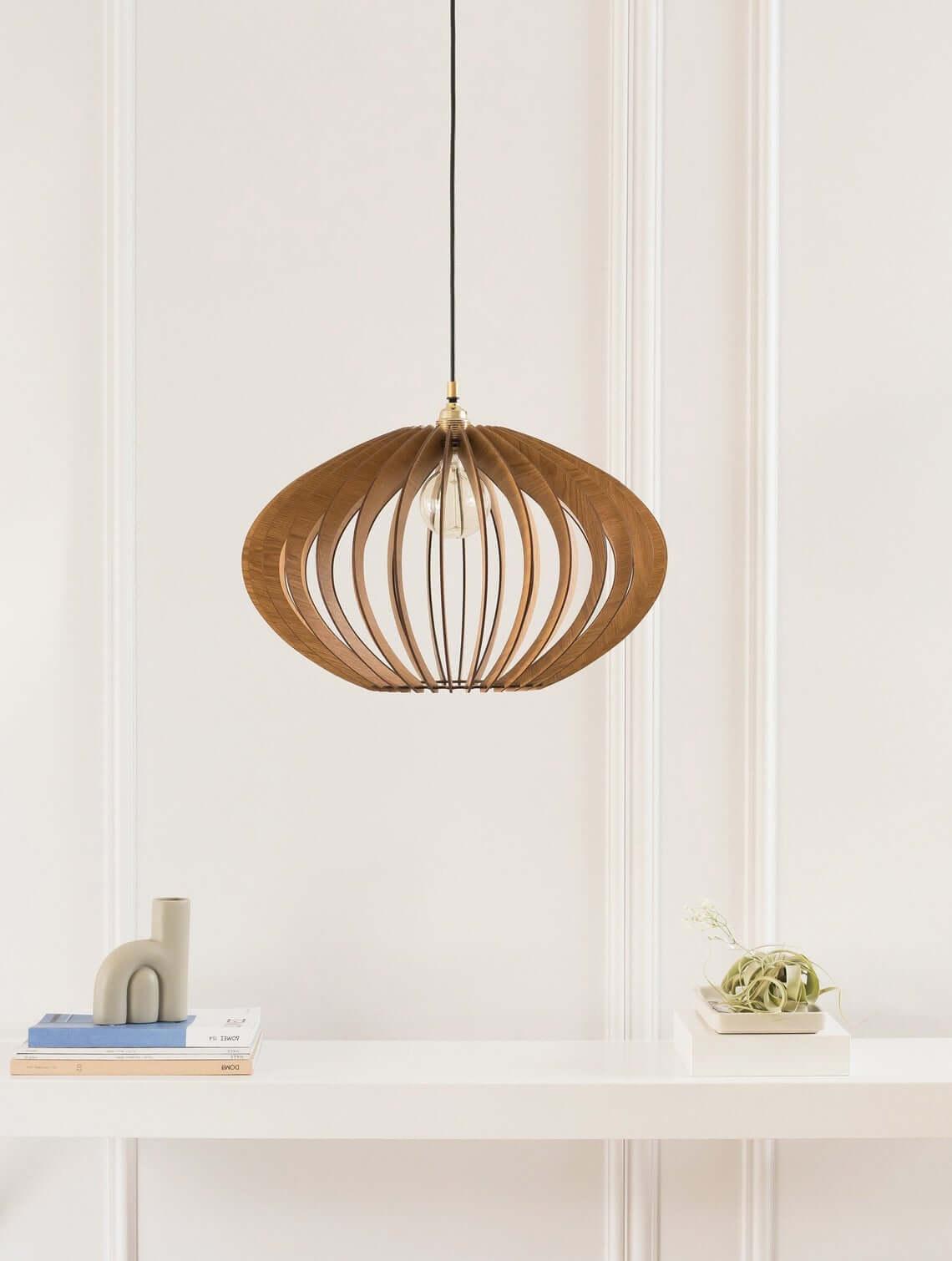 Wood Pendant Hanging Light Fixture