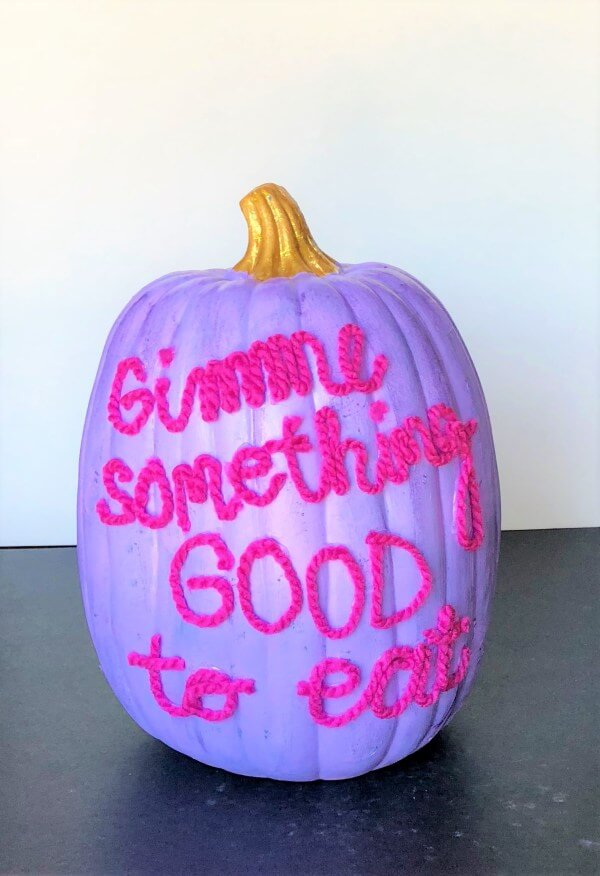 Pink and Purple Trick-or-Treat Painted Pumpkin
