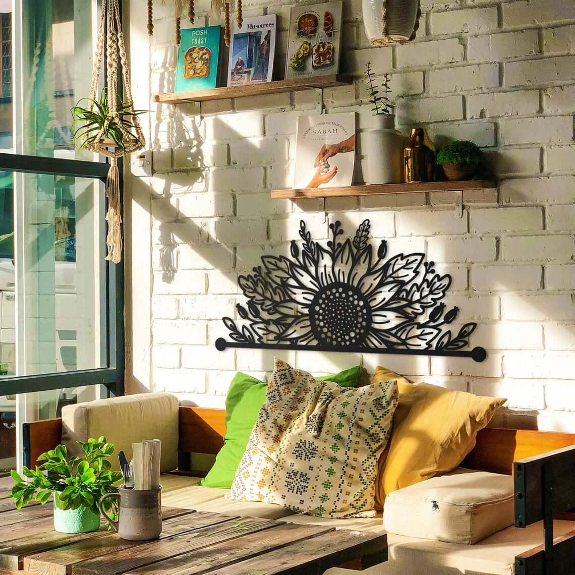 Edgy Black Sunflower Wall Art