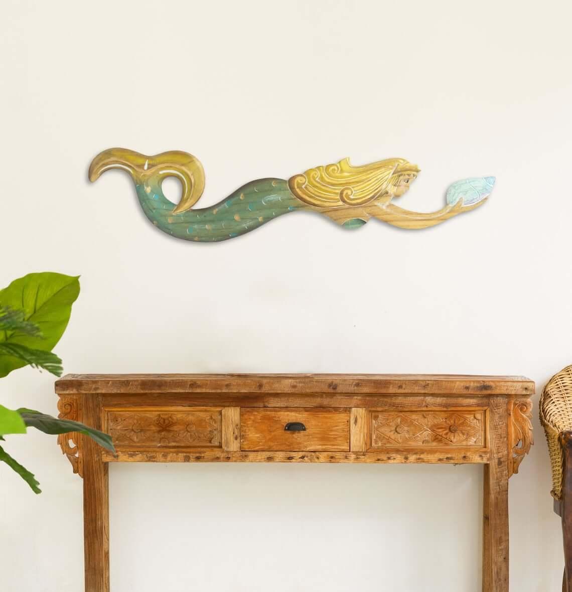 Antique Golden Mermaid Carrying Sea Life