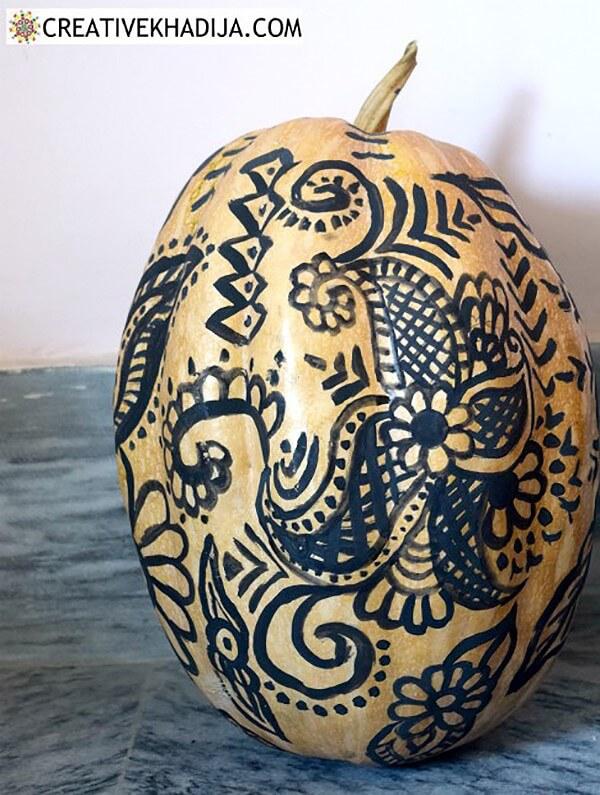 Artistic Hand Painted Henna Pumpkin