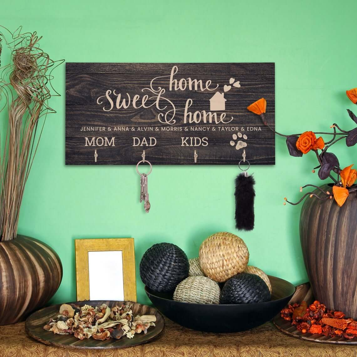 Personalized Wood Key Hanger and Family Sign