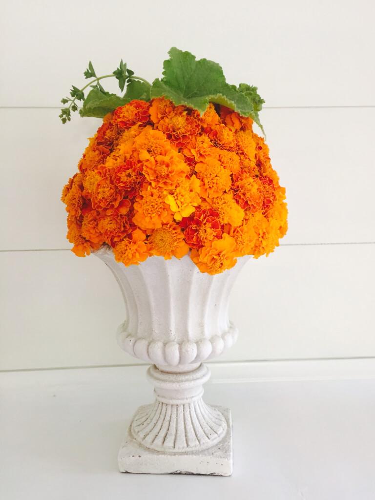 Handmade Fall Flower Decorations Marigold Urn